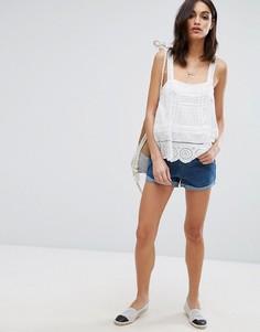 Джинсовые шорты бойфренда с завышенной талией и отворотами Vero Moda - Синий