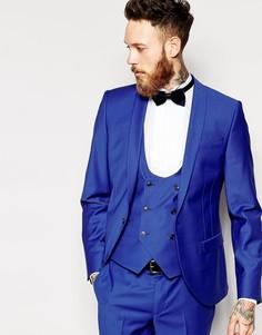 Пиджак зауженного кроя с лацканами наклонной формы Noose & Monkey - Синий