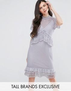 Кружевное платье миди с оборками Y.A.S Tall - Фиолетовый