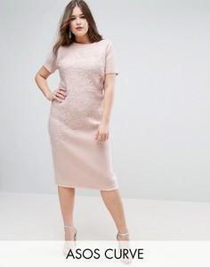 Облегающее платье миди с кружевом кроше ASOS CURVE - Белый