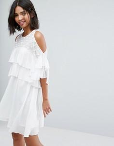 Платье с оборками Lost Ink - Белый