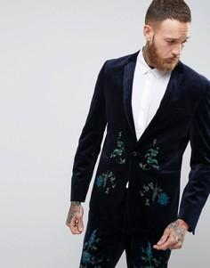 Темно-синий бархатный зауженный пиджак с вышивкой ASOS - Темно-синий