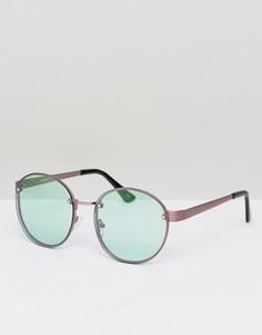Круглые солнцезащитные очки в стиле 90-х с бледно-зелеными стеклами ASOS - Медный