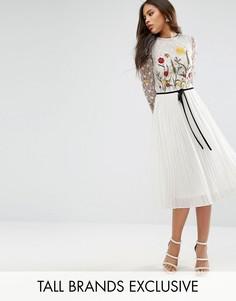 Приталенное платье миди с цветочной вышивкой Frock And Frill Tall - Белый
