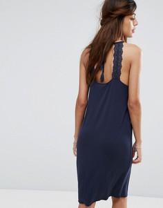 Трикотажное платье миди с кружевной отделкой Vila - Мульти