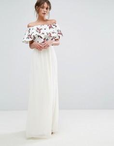 Платье макси с открытыми плечами и вышивкой Little Mistress - Белый