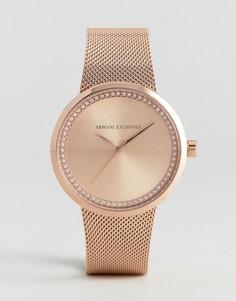 Золотисто-розовые часы с сетчатым ремешком Armani Exchange Liv - Золотой