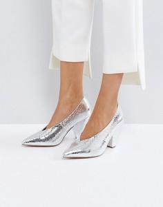 Туфли на каблуке с острым носком ASOS SHIRAZ - Серебряный