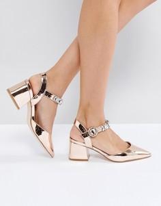 Декорированные туфли на среднем каблуке ASOS SHOWGIRL - Золотой