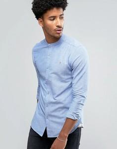 Синяя оксфордская узкая рубашка с воротником на пуговице Farah Cliffords - Синий