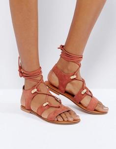 Замшевые сандалии в стиле вестерн с завязками ASOS FLORENTINA - Красный