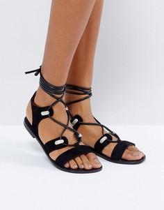 Замшевые сандалии в стиле вестерн с завязками ASOS FLORENTINA - Черный