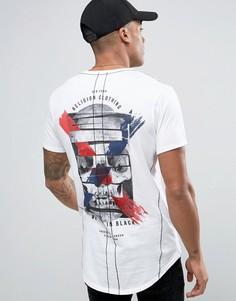 Удлиненная футболка с принтом на спине и на груди Religion - Белый