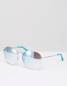 Солнцезащитные очки с серебристыми зеркальными стеклами Matthew Williamson Jade - Серебряный
