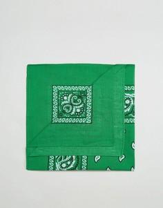 Зеленая бандана с принтом пейсли 7X - Зеленый
