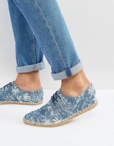 Эспадрильи из ткани шамбре на шнуровке и с принтом пальм ASOS - Синий