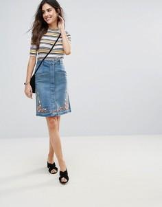 Джинсовая юбка-карандаш с вышивкой Soaked In Luxury - Синий