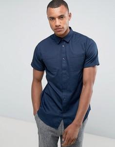 Классическая рубашка в стиле милитари с короткими рукавами Selected Homme - Темно-синий