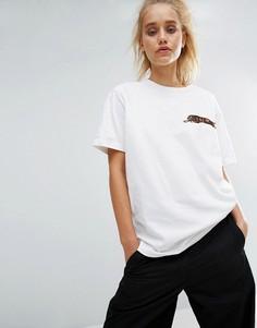 Oversize-футболка с вышитым леопардом Maharishi - Белый