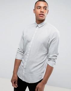 Рубашка классического кроя из ткани с добавлением льна Selected Homme - Зеленый