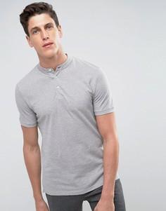 Меланжевая футболка-поло Selected Homme - Серый