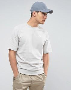 Серый свитшот с круглым вырезом и коротким рукавом Nike 933571-042 - Серый