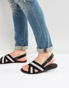 Кожаные сандалии с нейлоновыми ремешками ASOS - Черный