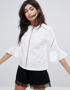 Блузка с оборками на рукавах Mink Pink Casablanca - Белый