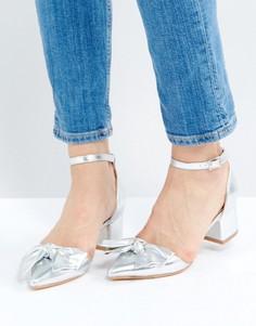 Туфли на среднем каблуке с бантом Truffle - Серебряный