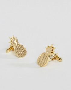 Позолоченные запонки в виде ананасов ASOS - Золотой