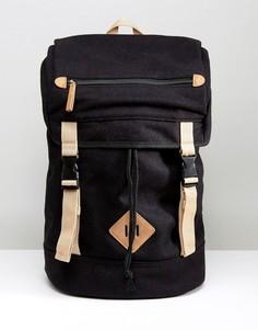 Черный походный рюкзак из мельтона с контрастной отделкой ASOS - Черный