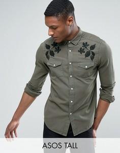 Джинсовая рубашка в стиле вестерн классического кроя с вышивкой ASOS TALL - Зеленый