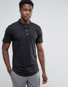 Трикотажная футболка-поло с закругленным низом Troy - Черный