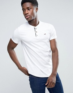 Белая узкая футболка хенли с логотипом-чайкой Hollister - Белый