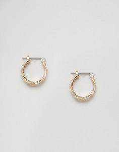 Серьги-кольца с рельефной отделкой Pieces - Золотой