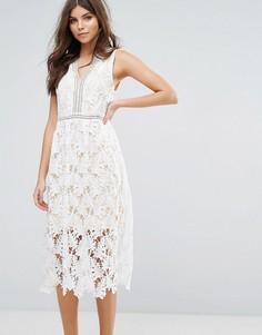 Кружевное приталенное платье миди Rd & Koko - Белый