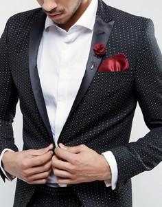 Платок для нагрудного кармана и булавка на лацкан Gianni Feraud - Красный