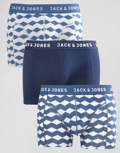 Набор из 3 боксеров-брифов с принтом Jack & Jones - Темно-синий