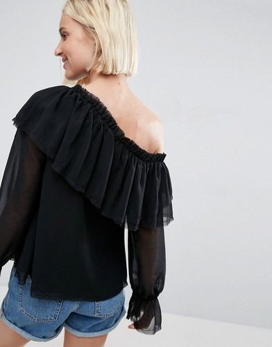 Блузка на одно плечо с оборками ASOS - Черный