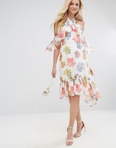 Ярусное платье миди с цветочным принтом ASOS - Мульти