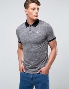 Серая меланжевая футболка-поло с контрастным воротником Hollister - Серый
