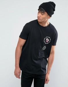 Свободная футболка с вышивкой на груди ASOS - Черный