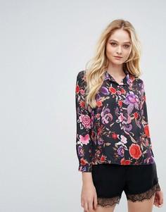 Рубашка в пижамном стиле с цветочным принтом Love - Черный