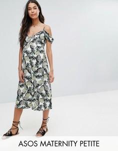 Приталенное платье миди с вырезами на плечах и принтом ананасов ASOS Maternity PETITE - Мульти