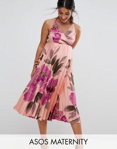 Плиссированное платье миди на бретельках с запахом и цветочным принтом ASOS Maternity - Мульти