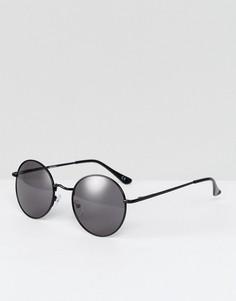 Круглые солнцезащитные очки в стиле 90-х в металлической оправе ASOS - Черный