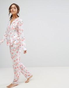 Пижамная рубашка и брюки с цветочным принтом ASOS - Мульти