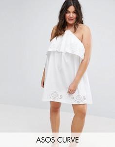 Пляжный сарафан-халтер с вышивкой ришелье ASOS CURVE - Белый
