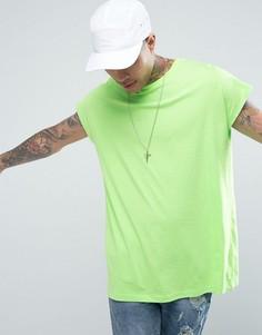 Длинная свободная футболка ASOS - Зеленый