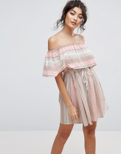Пляжное платье в полоску с открытыми плечами ASOS - Мульти